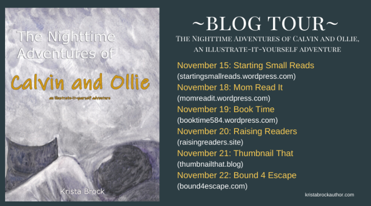 Graphic of blog tour announcement with other bloggers and front cover image of Calvin and Ollie